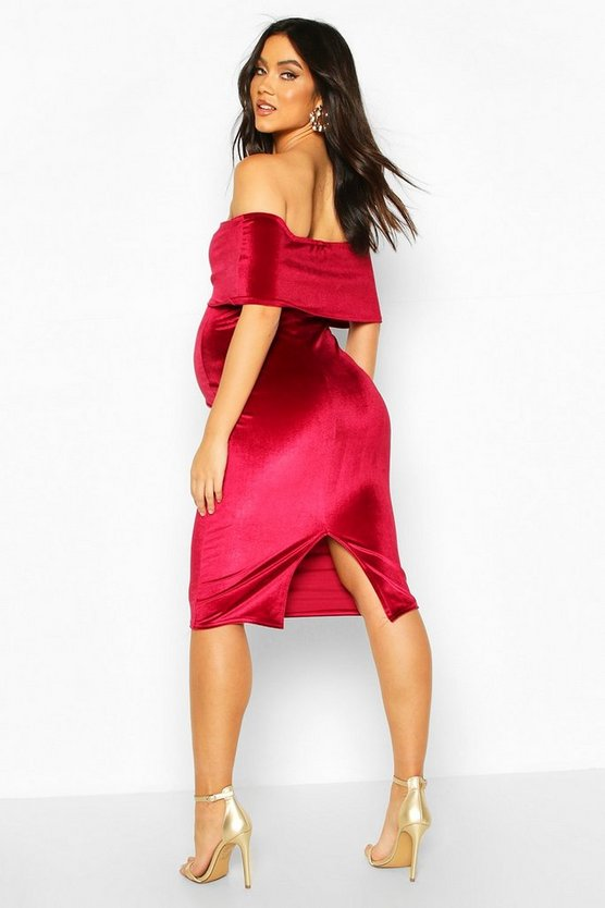 Maternity Double Layer Velvet Bodycon Dress