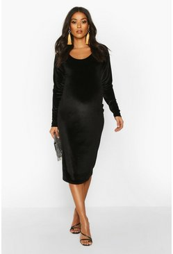 Womens Black Maternity Scoop Neck Velvet Midi Bodycon Dress
