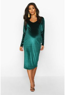 Maternity Scoop Neck Velvet Midi Bodycon Dress, Emerald