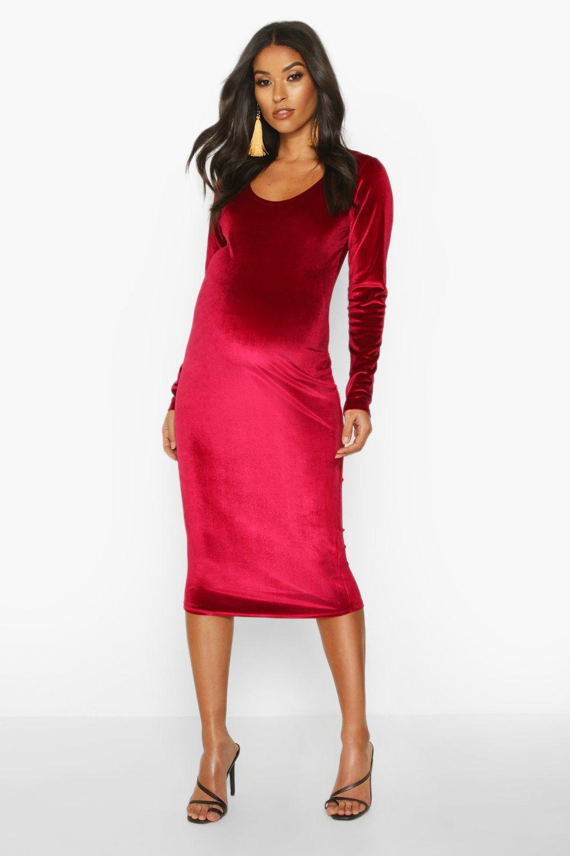 Vintage Style Maternity Clothes Womens Maternity Scoop Neck Velvet Midi Bodycon Dress - red - 8 $25.00 AT vintagedancer.com