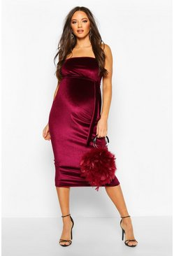 Womens Berry Maternity Bandeau Velvet Midi Bodycon Dress