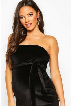 Maternity Bandeau Velvet Midi Bodycon Dress, Black