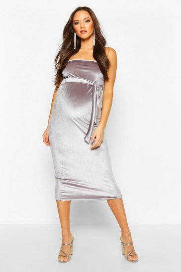 Womens Dark grey Maternity Bandeau Velvet Midi Bodycon Dress