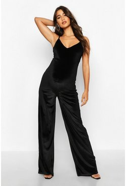 Black Maternity Strappy Velvet Jumpsuit
