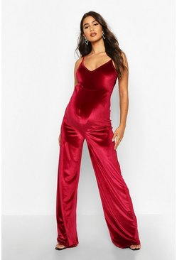 Wine Maternity Strappy Velvet Jumpsuit
