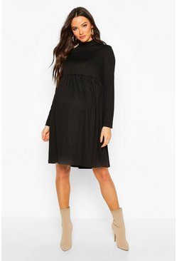 Womens Black Maternity High Neck Long Sleeve Rib Smock Dress