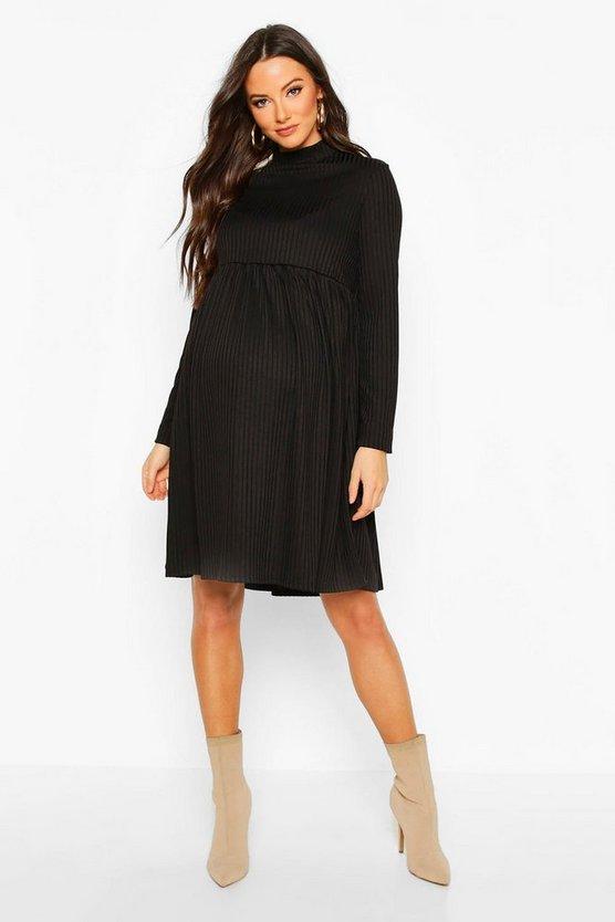 Maternity High Neck Long Sleeve Rib Smock Dress