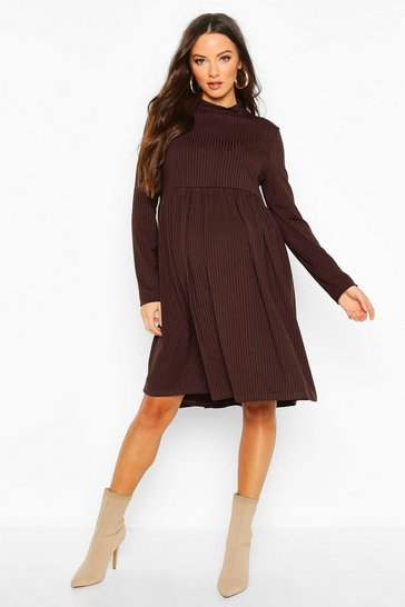 Womens Chocolate Maternity High Neck Long Sleeve Rib Smock Dress