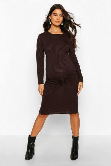 Womens Chocolate Maternity Basic Rib Bodycon Dress