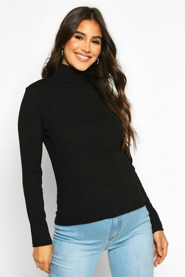 Womens Black Maternity High Neck Rib Top