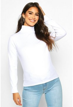 Womens White Maternity High Neck Rib Top