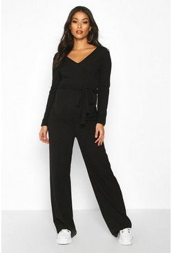 Womens Black Maternity Tie Waist Wide Leg Rib Jumpsuit