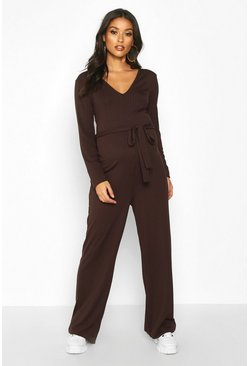 Chocolate Maternity Tie Waist Wide Leg Rib Jumpsuit