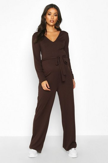 Womens Chocolate Maternity Tie Waist Wide Leg Rib Jumpsuit