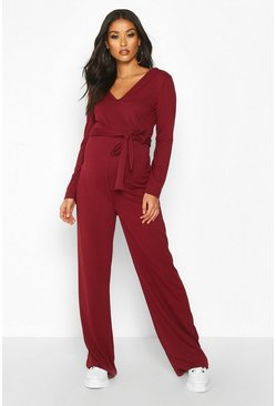 Maternity Tie Waist Wide Leg Rib Jumpsuit, Wine