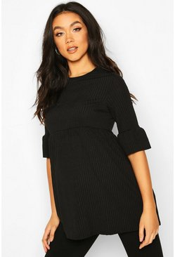 Black Maternity Ruffle Sleeve Rib Tunic