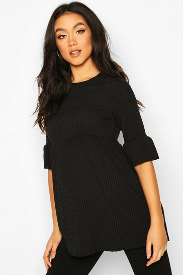 Womens Black Maternity Ruffle Sleeve Rib Tunic
