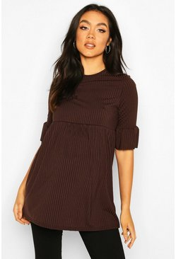 Chocolate Maternity Ruffle Sleeve Rib Tunic