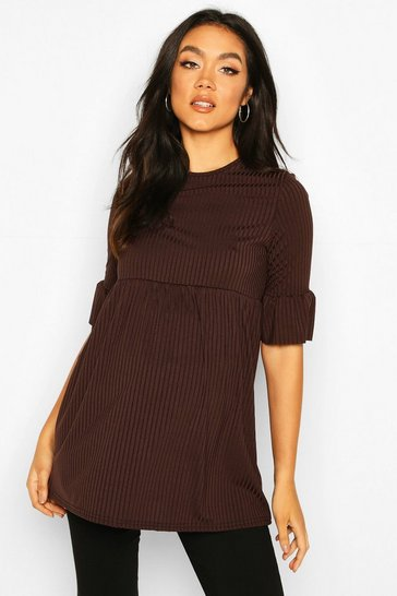Womens Chocolate Maternity Ruffle Sleeve Rib Tunic