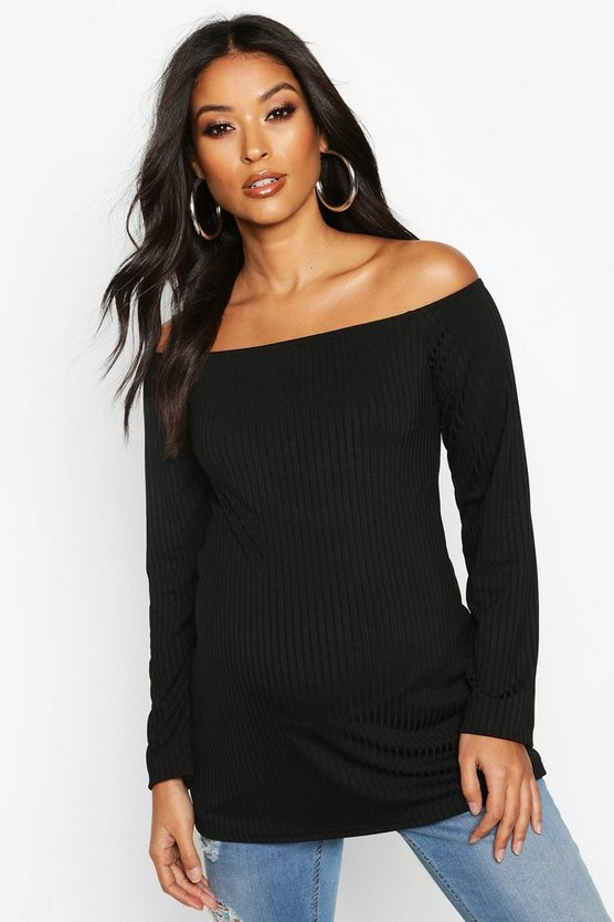 Black Maternity Off The Shoulder Rib Top