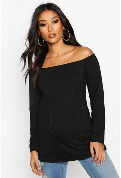 Womens Black Maternity Off The Shoulder Rib Top