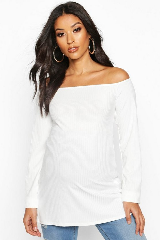 Cream Maternity Off The Shoulder Rib Top