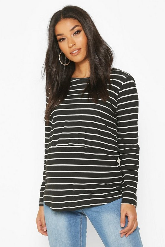 Black Maternity Stripe Nursing Top