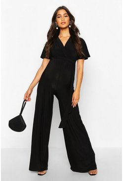 Womens Black Maternity Wide Leg Wrap Jumpsuit