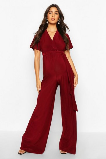 Womens Wine Maternity Wide Leg Wrap Jumpsuit