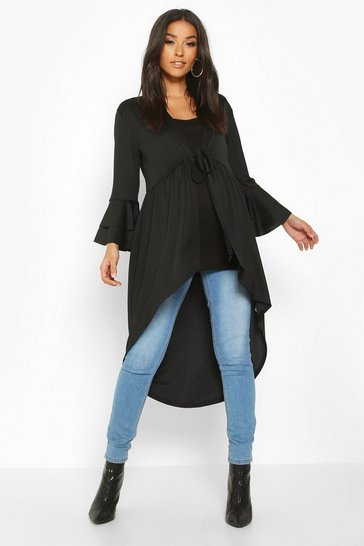 Womens Black Maternity Dipped Hem Duster