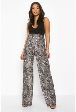 Womens Tan Maternity Leopard Print Wide Leg Trouser