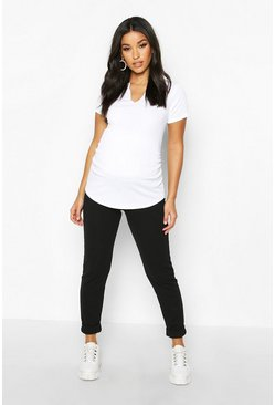 Womens Black Maternity Under The Bump Tapered Trouser