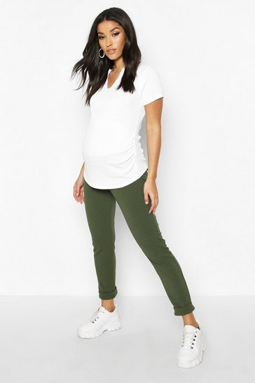 Womens Khaki Maternity Under The Bump Tapered Trouser