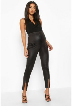 Black Maternity Split Detail Leather Look Leggings
