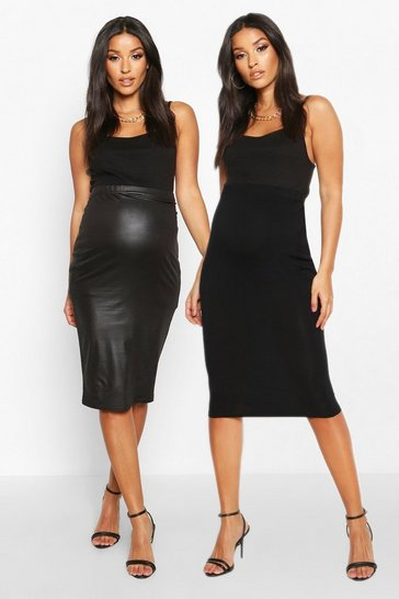 Black Maternity 2 Pack PU + Jersey Midi Skirt