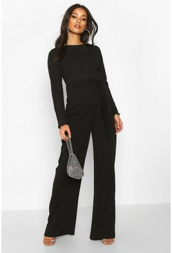 Womens Black Maternity High Waisted Wide Leg Trousers