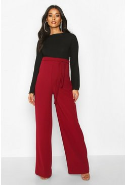 Wine Maternity High Waisted Wide Leg Trousers