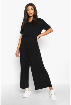 Womens Black Maternity Nursing Culotte Jumpsuit