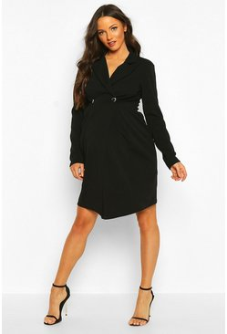 Maternity Button Front Blazer Dress, Black, MUJER