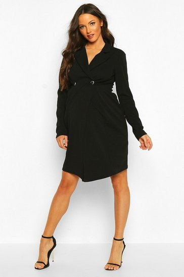 Womens Black Maternity Button Front Blazer Dress