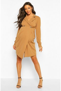 Womens Camel Maternity Button Front Blazer Dress