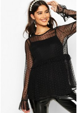 Womens Black Maternity Mesh Spot Ruffle Top