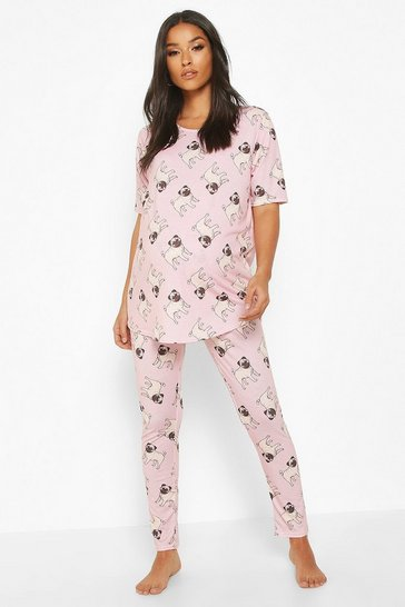 Womens Pink Maternity Pug Short Sleeve PJ Set