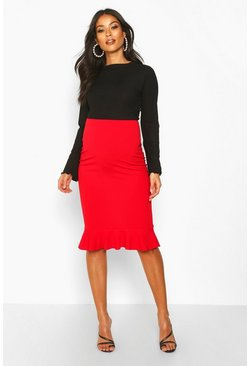 Red Maternity Frill Hem Midi Skirt