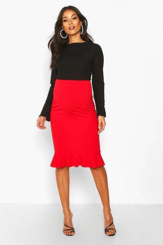 Maternity Frill Hem Midi Skirt