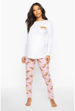Womens White Maternity Leopard Long Sleeve PJ Set
