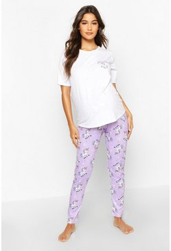 Womens Lilac Maternity 'Were Hoping For A Unicorn' PJ Trouser Set