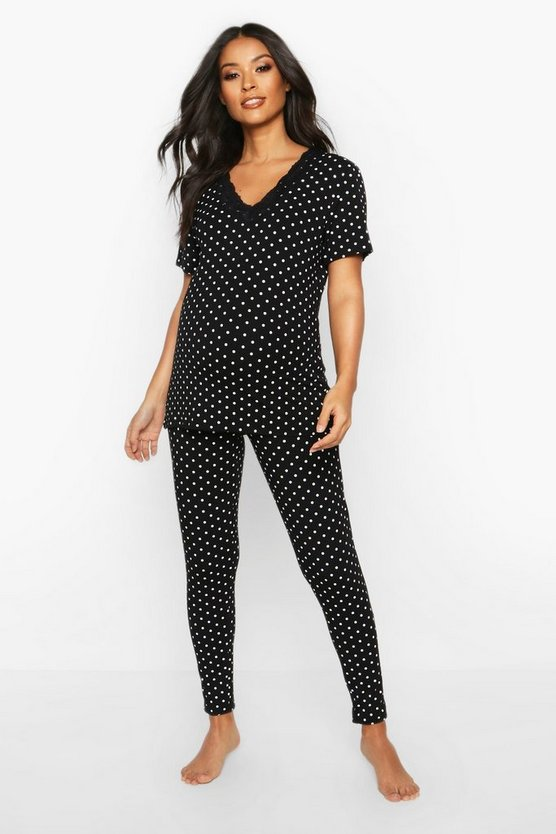 Black Maternity Polka Dot Lace Trim PJ Trouser Set