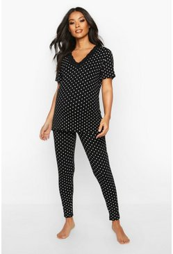 Black Maternity Polka Dot Lace Trim Pj Pants Set