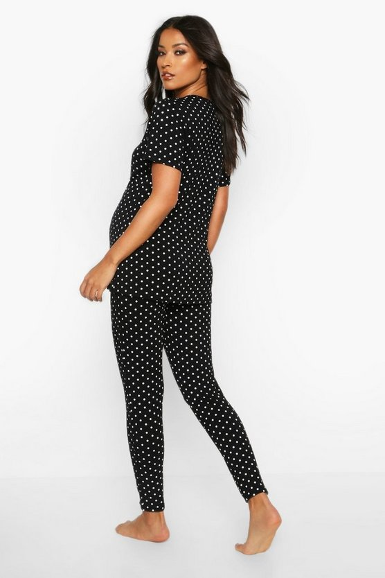 Maternity Polka Dot Lace Trim PJ Trouser Set